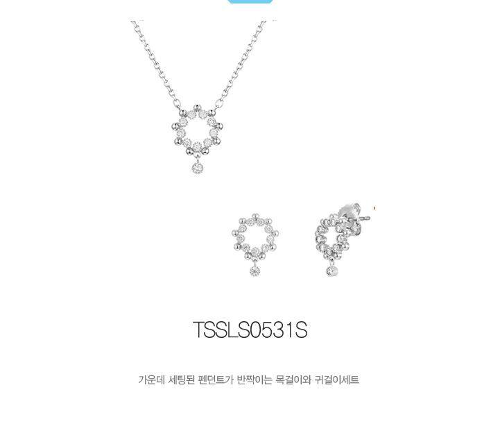 티르리르 실버 눈꽃송이 목걸이 귀걸이 세트(tssls0531s)