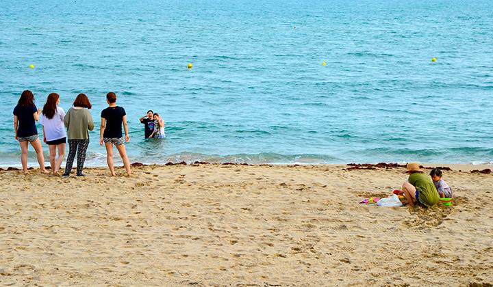 송정해변에서 물놀이를 즐기는 사람들