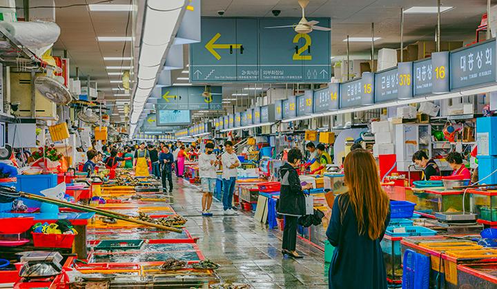 각종 해산물을 구경할 수 있는 자갈치 시장