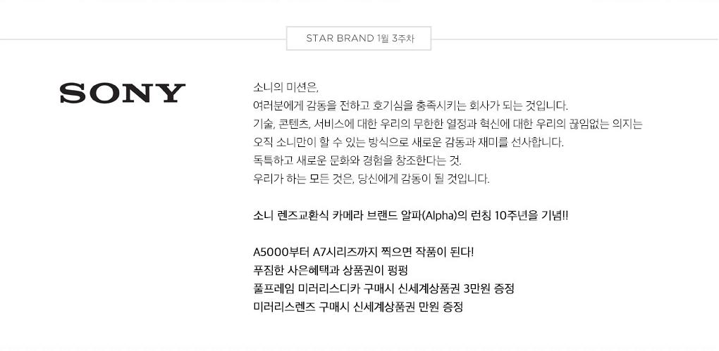 STAR BRAND 1월 3주차 - SONY