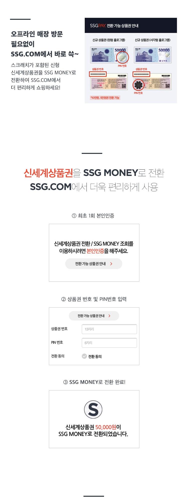 신세계 상품권을 SSG MONEY로 전환 SSG.COM에서 더욱 편리하게 사용