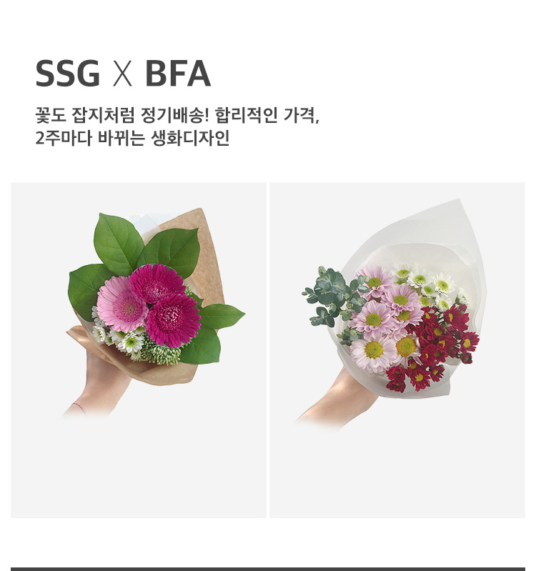 [BFA] 꽃도 잡지처림 정기배송! 합리적인 가격, 2주마다 바뀌는 생화디자인!