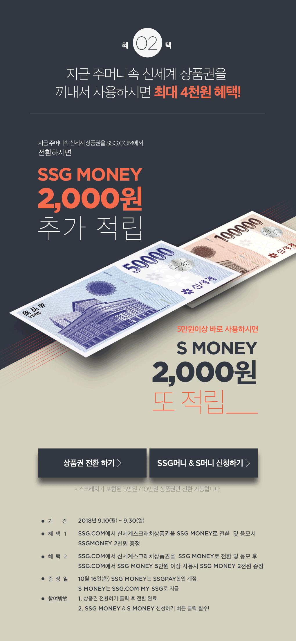 지금 주머니 속 신세계 상품권을 SSG.COM에서 전환하시면 SSG MONEY 2,000원 추가 적립. 5만원 이상 바로 사용하시면 S MONEY 2,000원 또 적립.